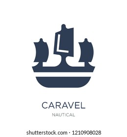 caravel icon. Trendy flat vector caravel icon on white background from Nautical collection, vector illustration can be use for web and mobile, eps10