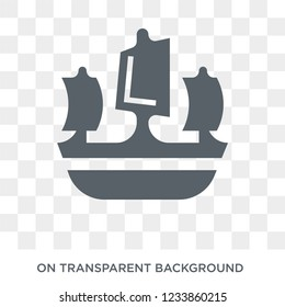 caravel icon. Trendy flat vector caravel icon on transparent background from Nautical collection.