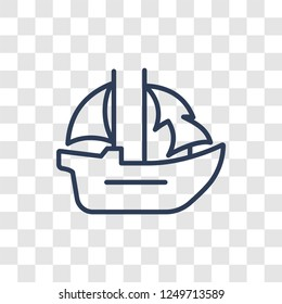 caravel icon. Trendy linear caravel logo concept on transparent background from Nautical collection