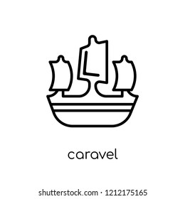 caravel icon. Trendy modern flat linear vector caravel icon on white background from thin line Nautical collection, editable outline stroke vector illustration