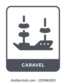 caravel icon vector on white background, caravel trendy filled icons from Nautical collection, caravel simple element illustration