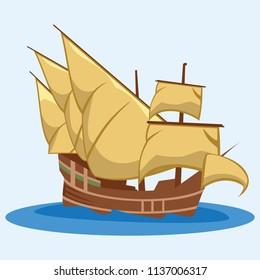 Caravel ship vector illustration