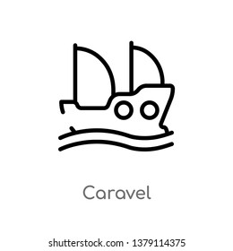 caravel vector line icon. Simple element illustration. caravel outline icon from nautical concept. Can be used for web and mobile
