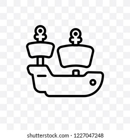 caravel vector linear icon isolated on transparent background, caravel transparency concept can be used for web and mobile