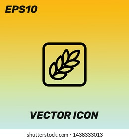 Carbohydrates,wheat sign vector icon illustration for web and mobile app. Golden gradient background. Premium quality.