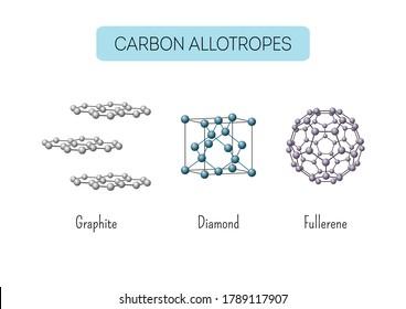 Carbon allotropes graphite, diamond, fullerene atomic structures. Educational chemistry. Vector illustration.