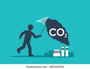 Carbon Capture Technology - net CO2 footprint development strategy. Vector illustration with metaphor - catching butterflies
