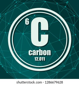 Carbon chemical element. Sign with atomic number and atomic weight. Chemical element of periodic table. Molecule And Communication Background. Connected lines with dots.
