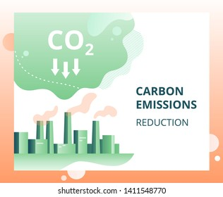 Carbon dioxide emissions reduction in the city. industrial landscape of the city with smoke co2 emissions from chimneys. Vector concept of ecology problem, generation and saving green energy