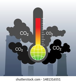 Carbon dioxide emitted from industrial chimneys. CO2 emission causing air pollution and global warming. Vector illustration outline flat design style.