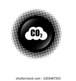 Carbon dioxide icon on glossy button. Designed for your web site design, logo, app, UI