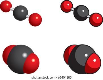 Carbon dioxide molecules (greenhouse gas)