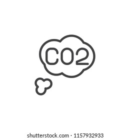 Carbon dioxide outline icon. linear style sign for mobile concept and web design. CO2 cloud simple line vector icon. Symbol, logo illustration. Pixel perfect vector graphics