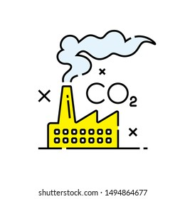 Carbon dioxide pollution icon. Co2 emissions symbol. Global warming sign. Climate change graphic. Vector illustration line icon.
