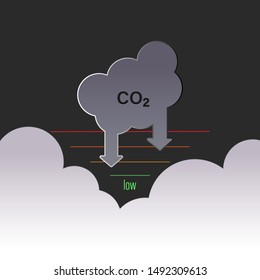 Carbon dioxide reduction target. Low-carbon strategy symbol. Vector illustration outline flat design style.