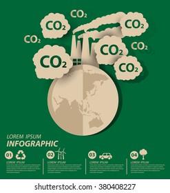 Carbon dioxide. Save world vector illustration.