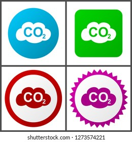 Carbon dioxide vector icon set. Flat design web icons in eps 10. Colorful internet buttons in four versions
