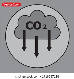 Carbon emissions reduction icon. This design suitable for explain about environment.
