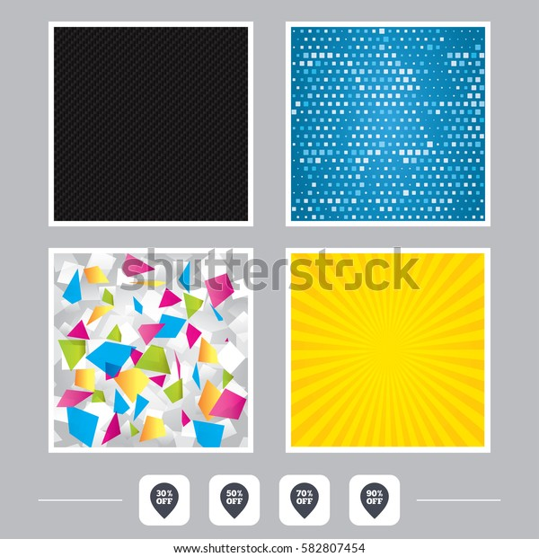 Carbon fiber texture. Yellow flare and abstract backgrounds. Sale pointer tag icons. Discount special offer symbols. 30%, 50%, 70% and 90% percent off signs. Flat design web icons. Vector