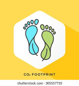 Carbon footprint icon with dark grey outline and offset flat colors.