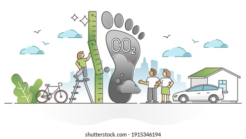 Carbon footprint pollution as CO2 emission environmental impact outline concept. Dangerous dioxide effect on planet ecosystem and sustainability vector illustration. Foot symbol as global greenhouse.