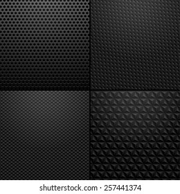 Carbon and Metallic texture - background illustration Vector illustration of black carbon, metallic patterns