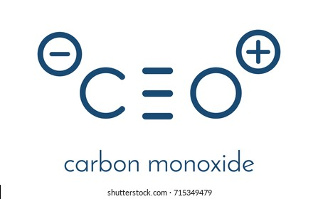 Carbon monoxide (CO) toxic gas molecule. Carbon monoxide poisoning frequently occurs due to malfunctioning fuel-burning home appliances. Skeletal formula.