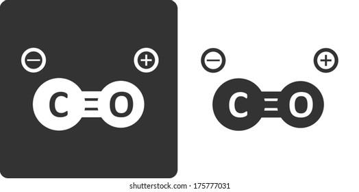Carbon monoxide molecule, flat icon style. Stylized rendering.