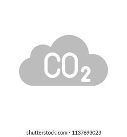 Carbon monoxide on cloud, Flat icon