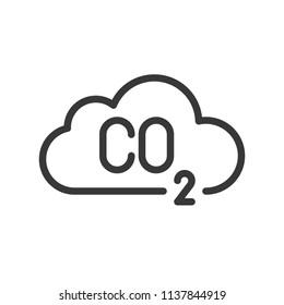 Carbon monoxide on cloud, pollution vector icon