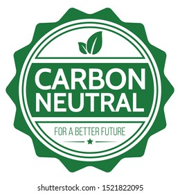 Carbon Neutral. Flat Vector Stamp.
