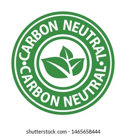 carbon neutral green rubber stamp, vector illustraion