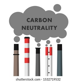 Carbon neutrality - industrial chimney and smokestack are producing exhaust, fume, emission and smoke. Vector illustration isolated on white.