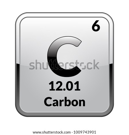 Carbon Symbol Chemical Element Periodic Table On Stock Vector