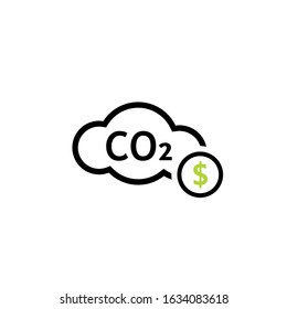 Carbon tax cloud line icon. Clipart image isolated on white background
