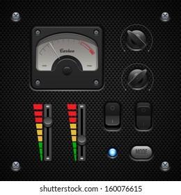 Carbon UI Application Software Controls Set. Switch, Knobs, Button, Lamp, Volume, Equalizer, Voltmeter, Speedometr, Indicator, Detector, LED. Web Design Elements. Vector User Interface EPS10