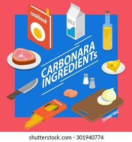 carbonara. ingredients - Elements Isometric Vector - Shutterstock ID 301940774