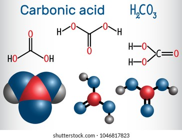 Carbonic acid (H2CO3) molecule .  It is also solution of carbon dioxide in water (carbonated water). Structural chemical formula and molecule model. Vector illustration