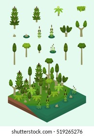Carboniferous era plants set for video game-type isometric  swamp scene. Simplified plants included ferns, horsetails (Equisetum), the extinct Calamites, and prehistoric Sigillaria tree.