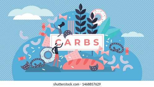Carbs vector illustration. Flat tiny sugar and wheat food persons concept. Unhealthy nutrition with high energy, cholesterol and glucose. Tasty and delicious diet to gain weight with snacks and junk.