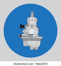 Carburetor for a motorcycle, vector illustration.
