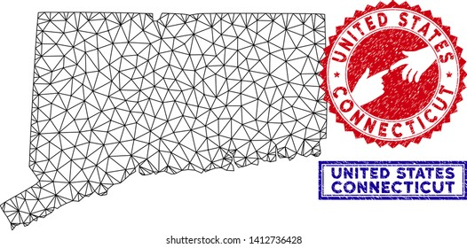 Carcass polygonal Connecticut State map and grunge seal stamps. Abstract lines and circle dots form Connecticut State map vector model. Round red stamp with connecting hands.
