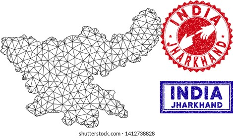 Carcass polygonal Jharkhand State map and grunge seal stamps. Abstract lines and spheric points form Jharkhand State map vector model. Round red stamp with connecting hands.
