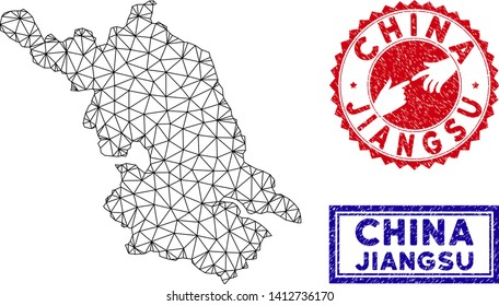 Carcass polygonal Jiangsu Province map and grunge seal stamps. Abstract lines and circle dots form Jiangsu Province map vector model. Round red stamp with connecting hands.
