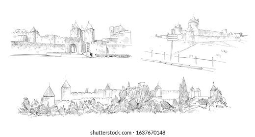 Carcassonne Fortress. France. Hand drawn sketch. Vector illustration.