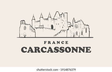 Carcassonne skyline, france hand drawn sketch