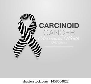 Carcinoid Cancer Awareness Calligraphy Poster Design. Realistic Zebra Stripe Ribbon. November is Cancer Awareness Month. Vector Illustration