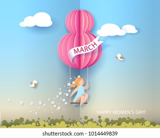 Card for 8 March Women's day. Woman on swing. Abstract background with text and flowers .Vector illustration. Paper cut and craft style.