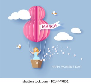 Card for 8 March Women's day. Woman in basket of hot air balloon. Abstract background with text and flowers .Vector illustration. Paper cut and craft style.