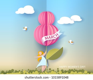 Card for 8 March womens day. Abstract background with woman, text and flower .Vector illustration. Paper cut and craft style.
